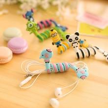 Kawaii Cartoon Animal Cable Winder Headphone Earphone Organizer Wire Holder Earphone Winder Cable Management