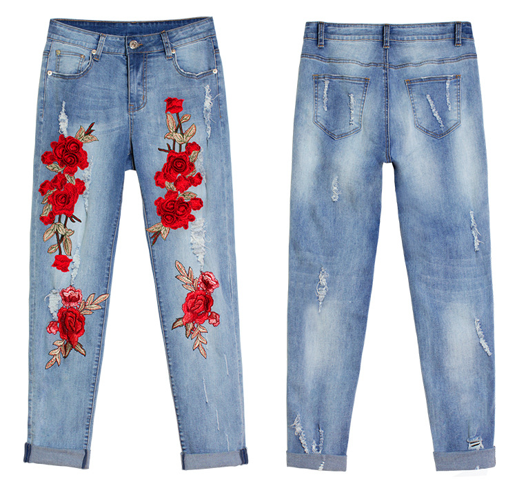 2017 Europe and the United States new women stretch loose jeans women trousers color flowers 3D stereo embroidery holes jeans (10)