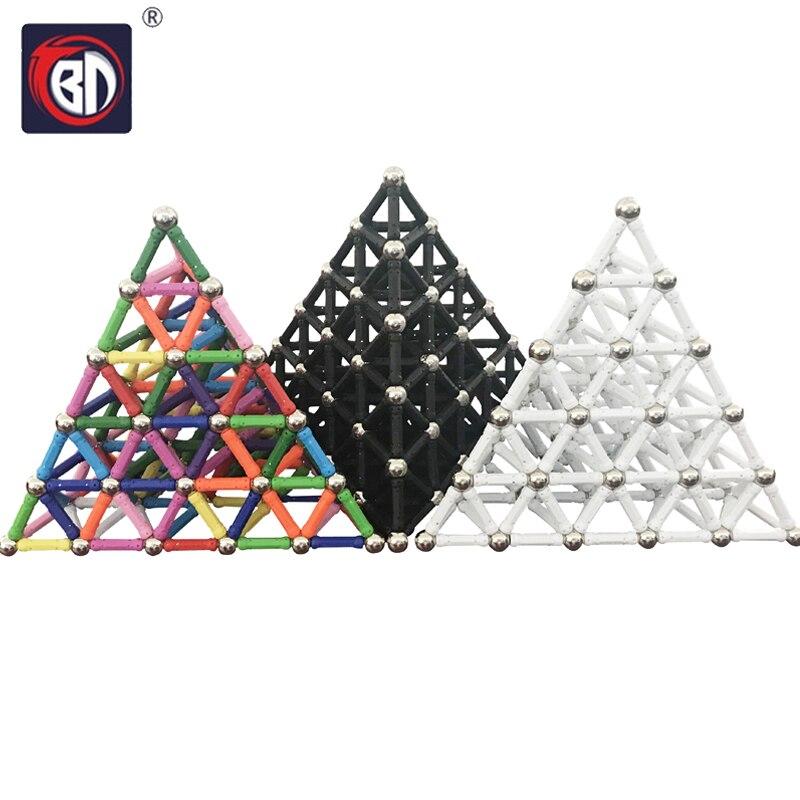 BD 50pcs-280pcs Magnet Bars & Metal Balls Magnetic Construction Creative Toys DIY Designer Educational Toy For Children Gifts