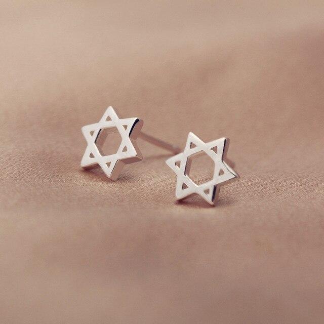 925 Sterling Silver Star Of David Magen Hebrew Shield Stud Earrings Great Israeli