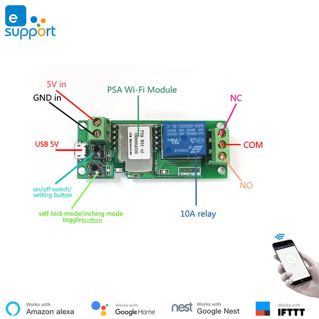 EweLink Smart USB 7-32V DIY 1 Channel Jog Inching Self-Locking WIFI Wireless Smart Home Switch, Voice Remote Control with Alexa 3