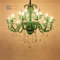 Светодиодный e14 Европейский кристалла железа Стекло зеленый люстры светодиодный светильник светодиодный бордовый для фойе столовой гости