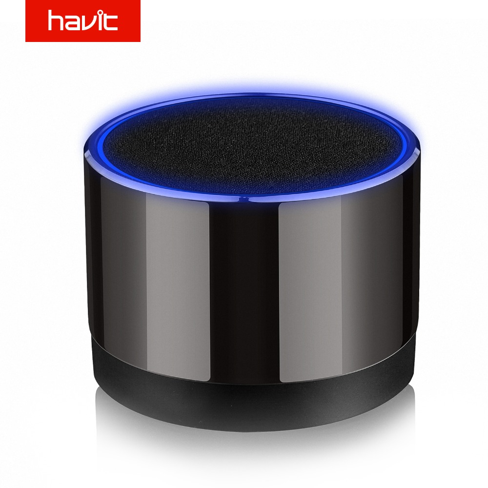 Havit M10 Mini Desktop Bluetooth Speaker Wireless Lautsprecher Portable Mp3 USB Blue Led Light dengan TF Card Speaker Subwoofer