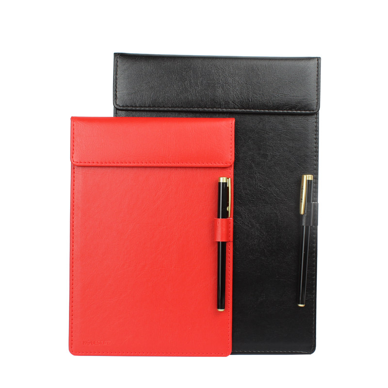A4 A5 A6 Clipboards W/Pen Holder PU Leather Magnetic File Paper Profile Clip Board Writing Tablet Pad Mat (black Brown Red)