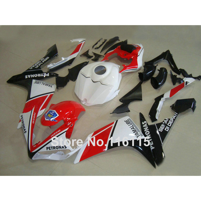 Injection molding lowest price plastic fairing kit for YAMAHA YZF R1 2007 2008 YZF-R1 07 08 red white black fairings set QZ46 lowest price 2017 super price maxidiag md801 code reader scanner for obd1 obdii protocol free shipping