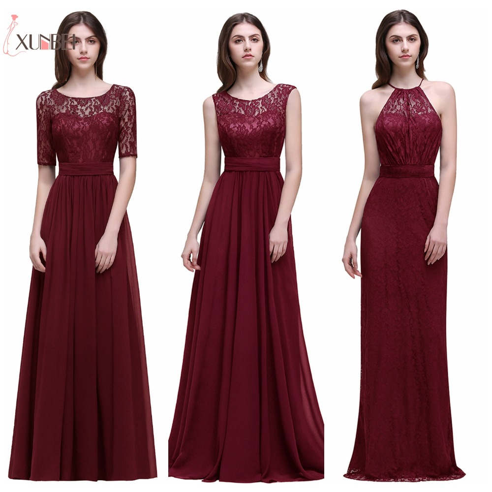 Dama de honor Robe Mariage A Line Navy Burgundy Lace Chiffon Bridesmaid Dresses Long 2019 Cheap Prom Dresses Party Gowns(China)