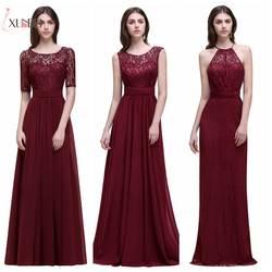 Dama de honor Robe Mariage линии темно бордовый кружево шифоновое платье для подружки невесты длинные 2019 дешёвые Выпускные платья вечерние платья