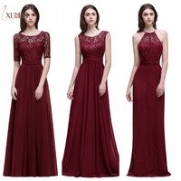 Dama de honor Robe Mariage A Line Navy Burgundy Lace Chiffon Bridesmaid Dresses Long 2019 Cheap Prom Dresses Party Gowns