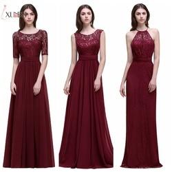 Dama de honor Robe Mariage UMA Linha Navy Burgundy Lace Chiffon Vestidos Longos Da Dama de honra 2019 Barato Prom Vestidos de Festa Vestidos