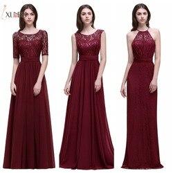 Dama de honra robe mariage a linha marinha borgonha rendas chiffon vestidos de dama de honra longo 2019 baratos vestidos de baile vestidos de festa cps526