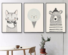 3 Pieces NordicArt Bear Fox simple spray Poster Painting Printed Canvas no Frame for Children Room Decoration Wall Art Pictures(China)
