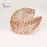 VANFI Women S Fashion Zircon Leaves Ladies Elegant 14 Kgold Plated Party Jewelry Engagement Rings Rose