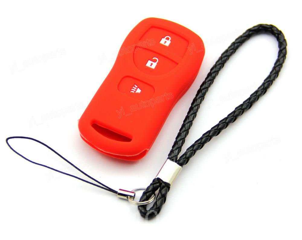 Red Silicone Soft Case Cover Fit For Nissan Armada Versa Titan Frontier Xterra Quest Pathfinder Quest Remote Key 3 Buttons