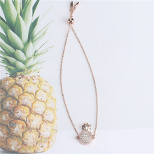 2019 Womens Fashion Rose Gold Zircon Pineapple plated Bracelet ladies environmentally copper charm bracelets