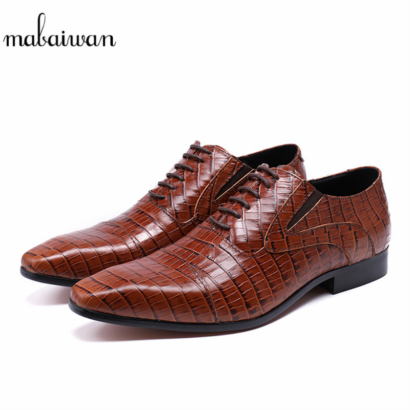 Mabaiwan New Brown Fashion Genuine Leather Dress Men Shoes Lace Up Italy Retro Male Business Wedding Formal Flats Shoes For Men mabaiwan fashion new design leather dress men shoes lace up italy business wedding formal shoes men metal pointed toe male flats