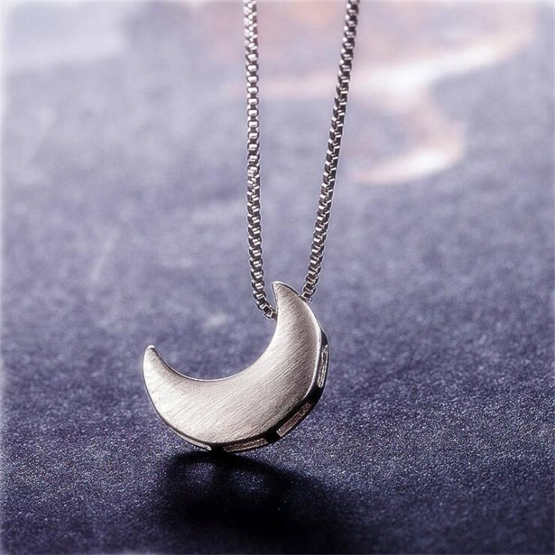 New Simple Fashion Jewelry Beautiful 925 Sterling Silver Brushed Crescent Moon Exquisite Gift Women Pendant Necklaces N47
