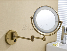 bath mirror bronze wall mounted 8 inch brass 3x1x magnifying mirror led light folding makeup mirror cosmetic mirror lady gift