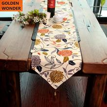 Luxury New Design Pastoral Nordic Style Table Runner Visionnaire Home Textile Flower Printing Beautiful Fashion 100% Cotton Mats