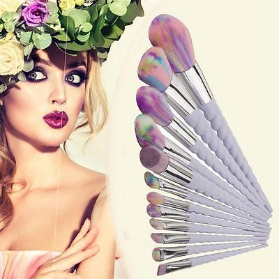 Pro12 13pcs Rainbow Hair Unicorn Thread Cosmetic Make Up Brushes Set Spiral Handle Foundation Eyeshadow Brush