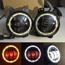 4 дюймов LED вспомогательный прохождения Противотуманные фары с Красный демон Средства ухода для век/Белый DRL Янтарный поворотов Halo Кольцо 30 вт для Jeep Wrangler (пара)