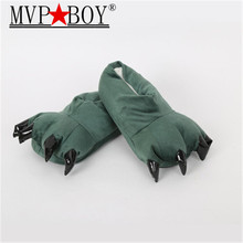 Mvp Boy  Funny Animal Paw Winter Men  Slippers male Monster Claw Children Slippers Cute Plush Slippers Home Indoor Shoe green недорого