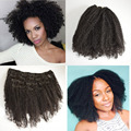 Natural Black European Virgin Hair Afro Kinky Curly Full Head Remy Clip In Human Hair Extensions Double Wefted 7 pcs 22 Clips In
