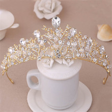 Clear Crystal Princess Wedding Bride Tiara Coroa de Noiva Headdress Women Pageant Prom Bridal Quinceanera Crown Hair Accessories