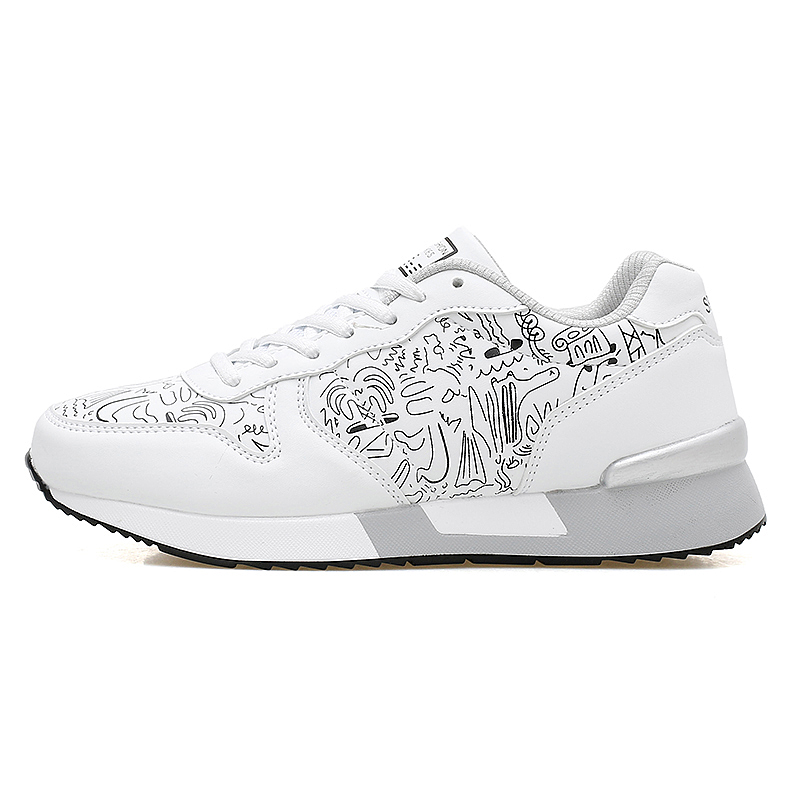 2017 Spring Graffiti Valentine Shoes Women Flat Heel Lace Up Leather Casual Shoes Plush Size 44 Low Top Sport Outdoor Shoes ZD43 (30)
