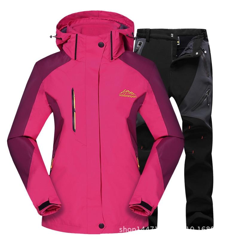 Outdoor Moutain Women Waterproof Skiing Ski-wear Jacket Suits Snowboard Jacket Ski Suit Large Size Snow Jackets Plus Size