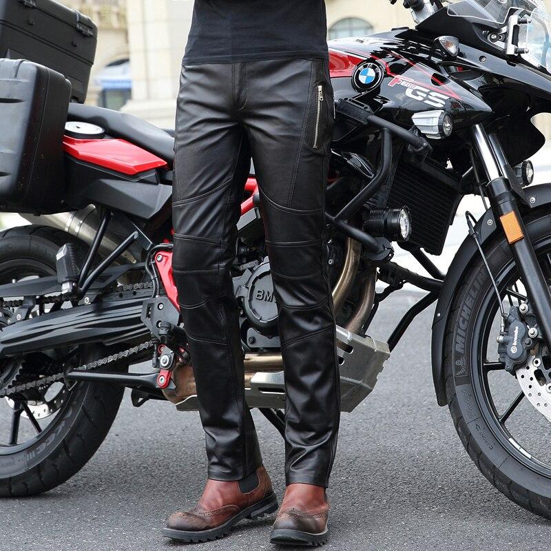 Высококачественные Новые Мужские штаны из натуральной кожи мужские облегающие локомотивные брюки Корейский мужской мото натуральная овчи...