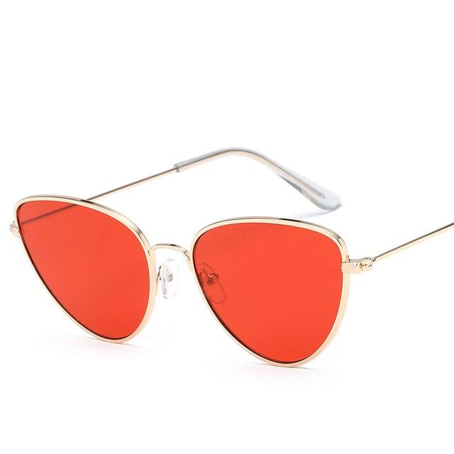 4dfe3870492 Retro Cat Eye Sunglasses Women Yellow Red Lens Sun glasses Fashion Light  Weight Sunglass for women Vintage Metal Eyewear