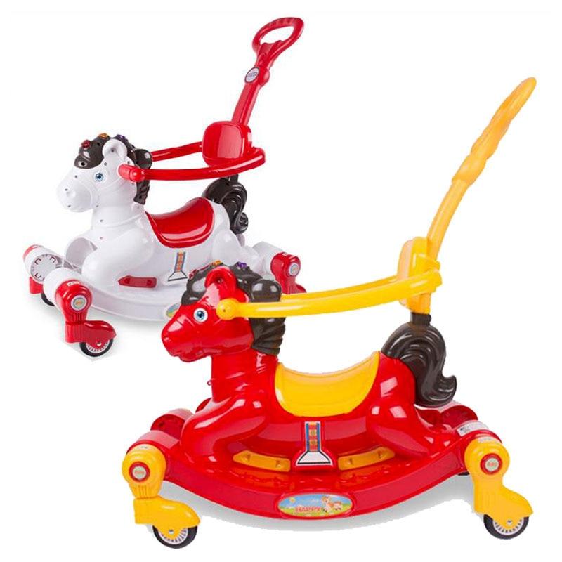 Baby Rocking Horse with Music Four Wheel Toys Car Swing Chair Stroller Pushchair Buggy Pram 6 M~48 M baby stroller folding rocking horse pushchair infant stroller gold frame