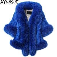 AYUNSUE 2019 Роскошный натуральный мех пальто норковая шуба Для женщин с большой натуральный Лисий меховой воротник короткие зимние теплые женс