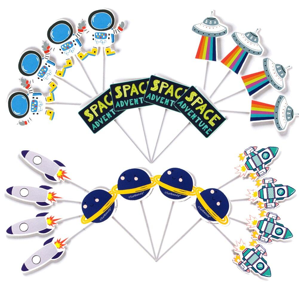 Набор из 24 предметов для украшения кекса, день рождения детей, мальчика вечерние украшения для детского душа, космонавта, космонавта, ракеты...
