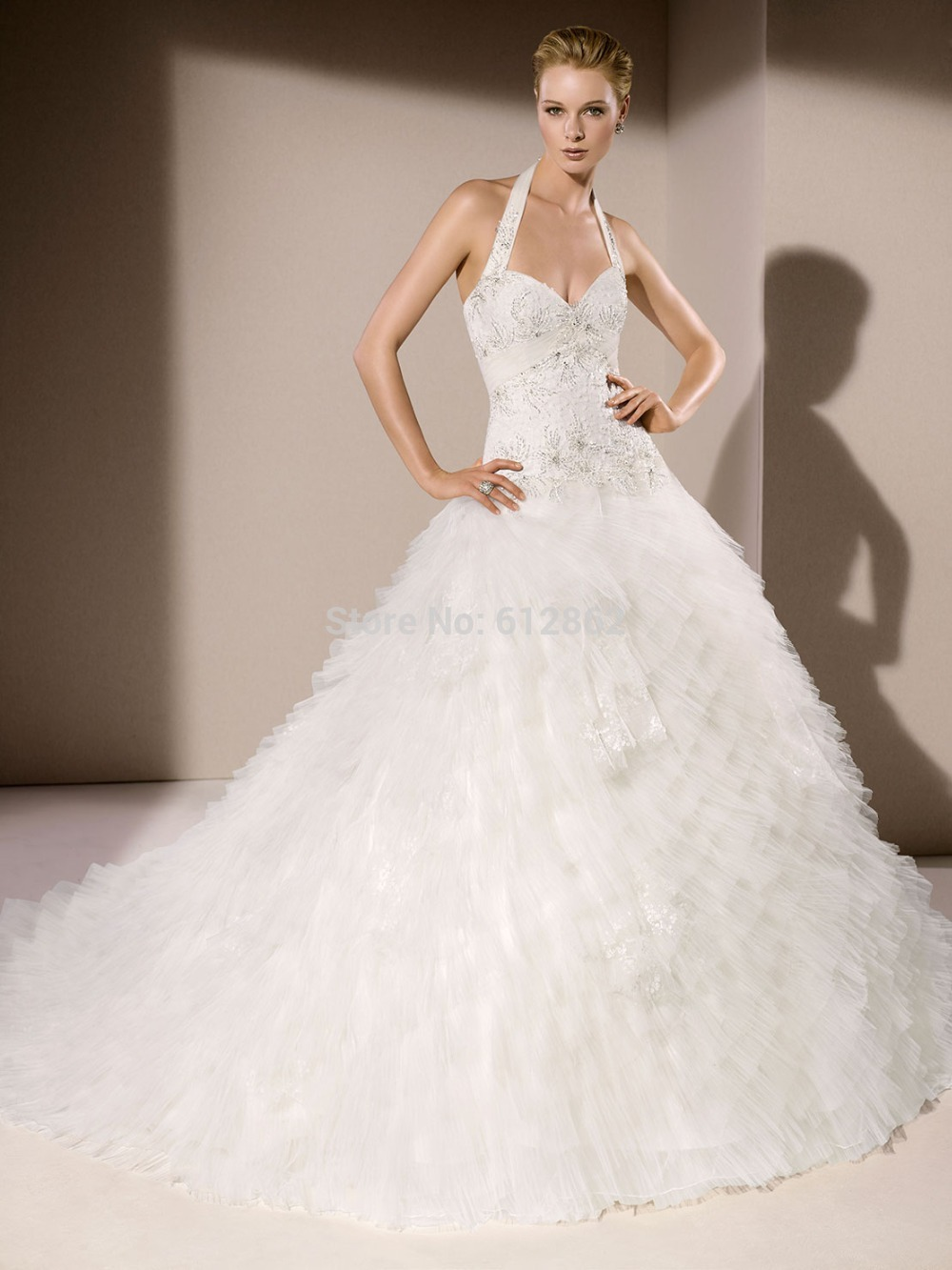 Halter beaded lace bodice tulle skirt ball gown low cut back long halter beaded lace bodice tulle skirt ball gown low cut back long train couture wedding gown in wedding dresses from weddings events on aliexpress ombrellifo Images