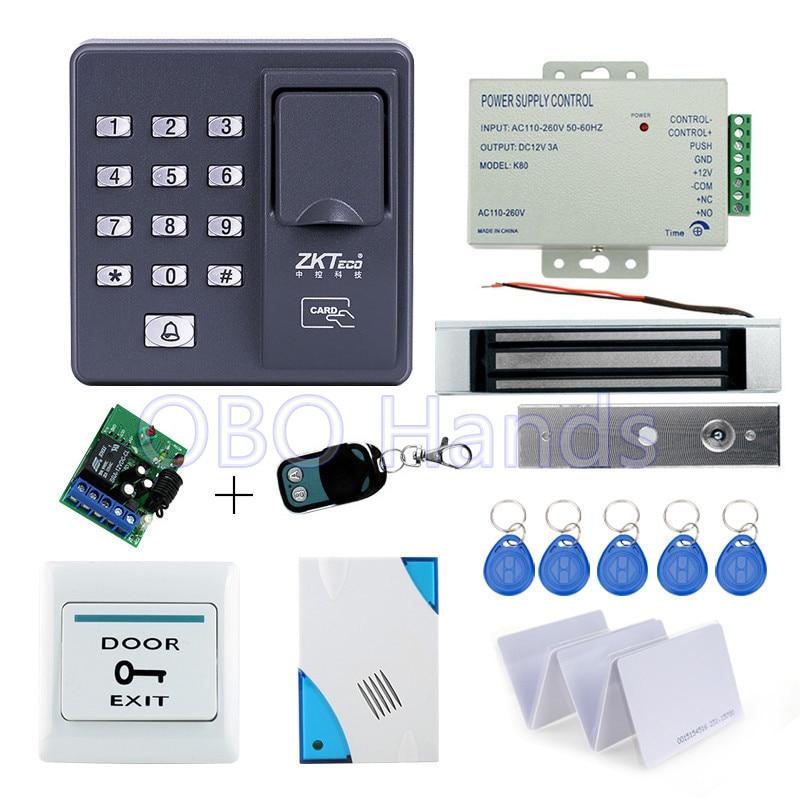 Full kit biometric fingerprint access control X6 180KG magnetic lock power supply exit button door bell