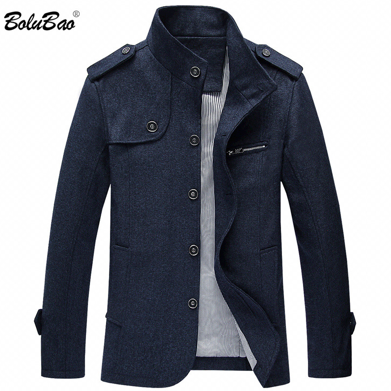 BOLUBAO Brand Men Wool Blends Coats Autumn New Fashion Men's Solid Color Wool Jacket Male Wool Blends Coats Brand Clothing(China)