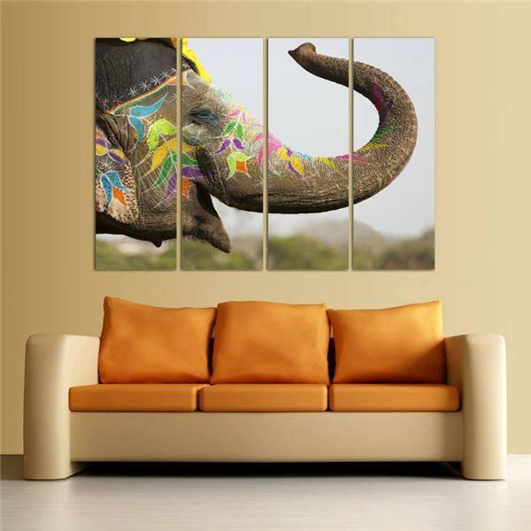 4 Panels Animal Painting Hd Canvas Elephant Print Painting