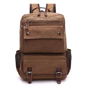 Image 3 - Unisex Vintage Rucksack Männer Reisetaschen Leinwand Tasche Mochila Masculina Laptop Rucksäcke Frauen Schule Tasche für Teenager Zurück Pack