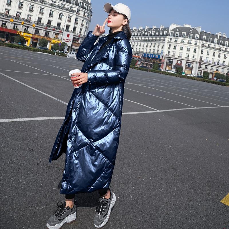 Pardessus Le Dames 2018 Lumineux Parkas Blue Hiver Femme Navy Manteaux Visage Gray Tempérament Down Chaud Manteau Vestes Femmes silver Long Blanc Bas Slim Blue Vers light UHHrwX