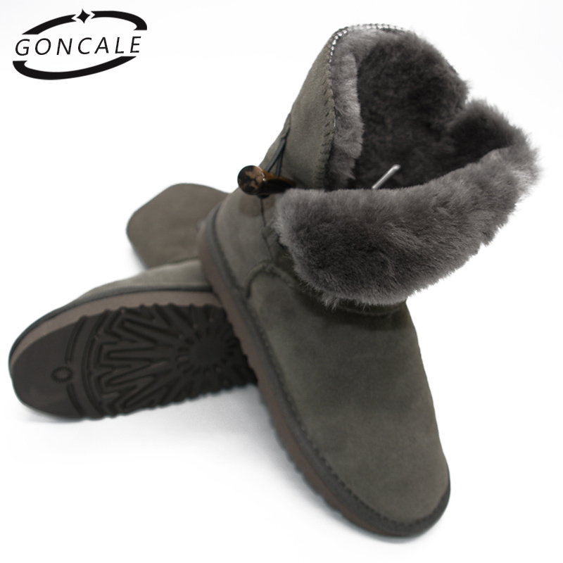 2017 Fashion New Arrival 100% Real Fur Classic Mujer Botas Waterproof Genuine Cowhide Leather Snow Boots Winter Shoes for Women 2017 new arrival kind of shoes waterproof leather boots us7