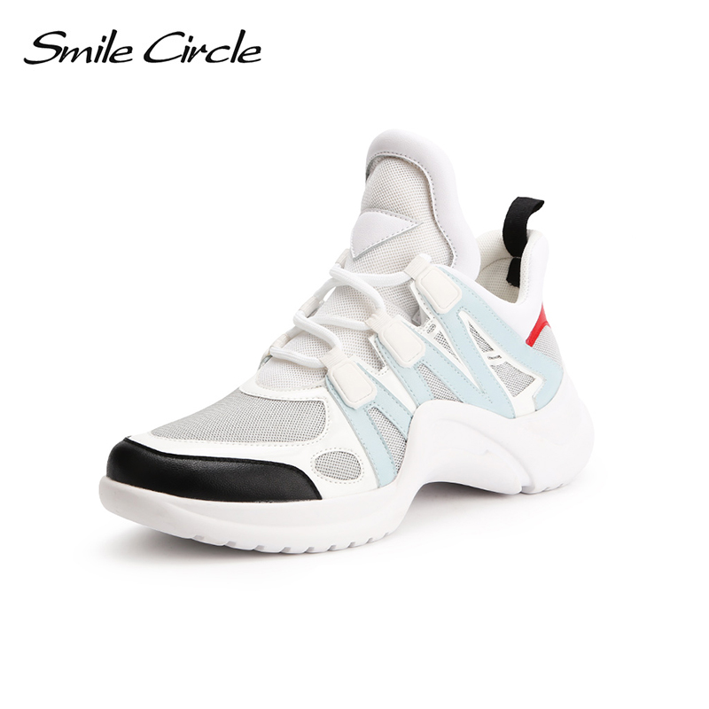 Smile Circle Spring Autumn Women Shoes Casual Sneakers For Women Fashion Lace up Flat Platform Shoes