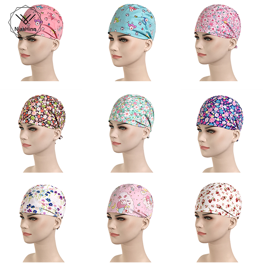 Hospital Floral Printing Cotton Medical Cap Beauty Salon Dental Clinic Pet Hospital Surgical Hat Men Women Medical Accessories