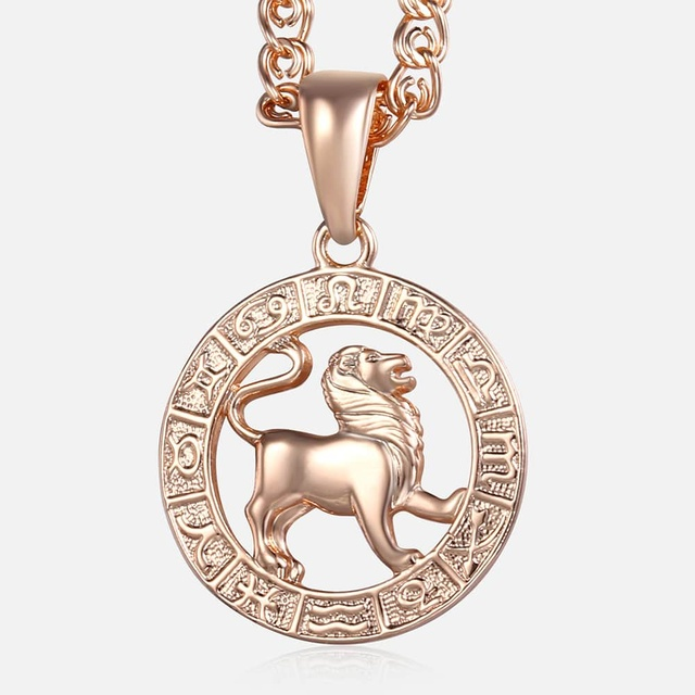 Leo 12 Zodiac Sign Necklace For Women Men 585 Rose Gold Pendant Male Jewelry Fashion