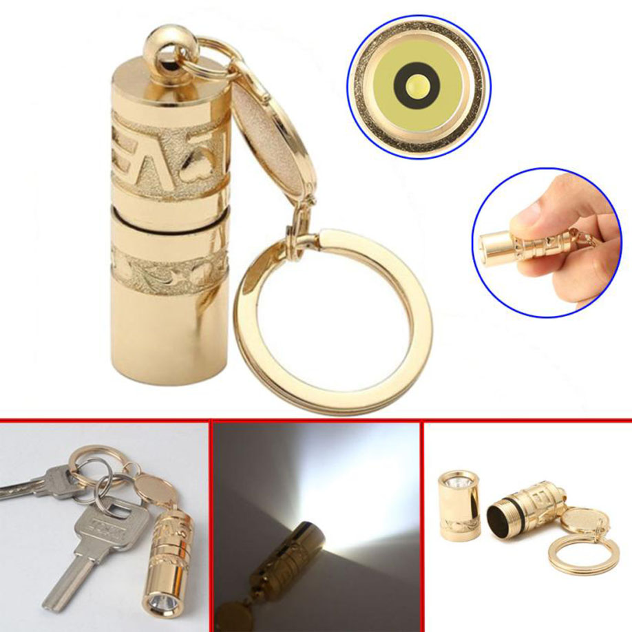 FGHGF 2018 LED lamp Flashlight Torch Lamp Handheld Camping Keychain Light Brand Newest High Quality Golden Mini Portable LED