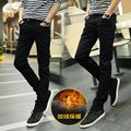 New the autumn winter plush jeans Men's elastic thin foot of cultivate one's morality pants