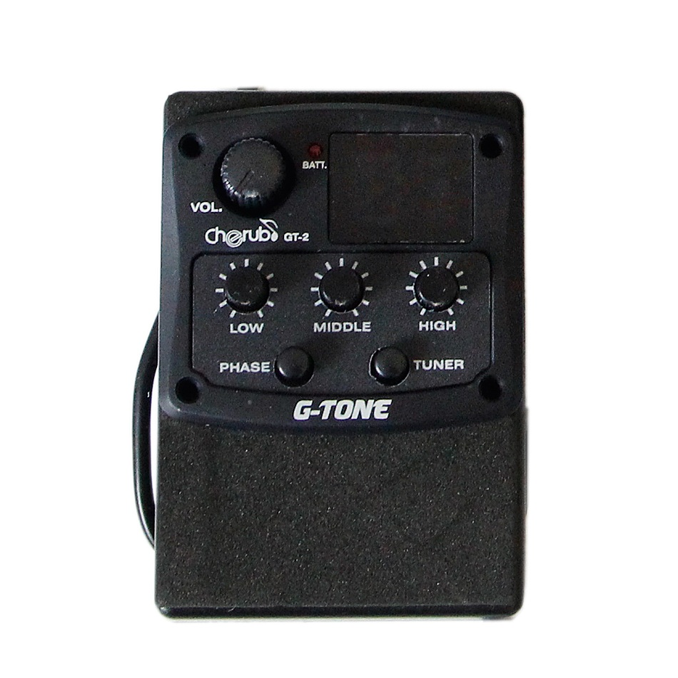 Cherub G-Tone GT-2 Three Band EQ with Chromatic Tuner and Phase Effect / Acoustic Guitar Pickup guitar pick holder joyo eq 307 folk guitarra 5 band eq acoutsic guitar equalizer high sensibility presence adjustable with phase effect and tuner