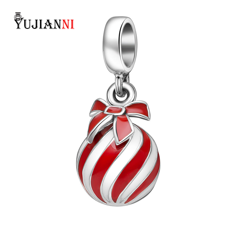Authentic 925 Sterling Silver Charm Red Balloon Pendant With Bow Bead Fit European Brand Original Bracelets& Necklace Jewelry