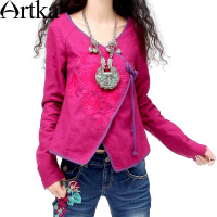 ARTKA Women's Ethnic Handmade Frog Knot Delicate Floral Embroidery Surplice V neck Qualified Cotton Short Coat SA10237C