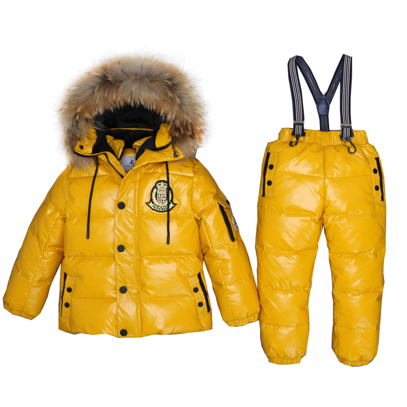 3 ~ 7 ans enfants russes vraie fourrure vêtements chauds ensembles garçon veste Snowsuit fille hiver bas manteau enfants en plein air Ski costume chothes